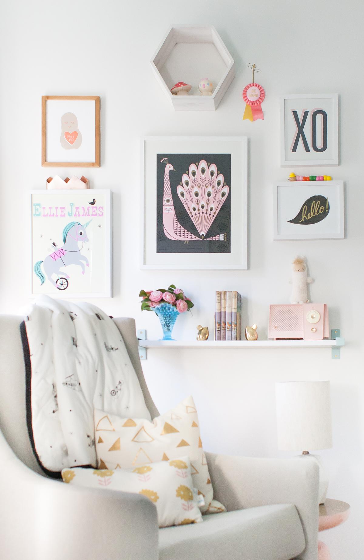Gallery Wall in Lay Baby Lay Nursery