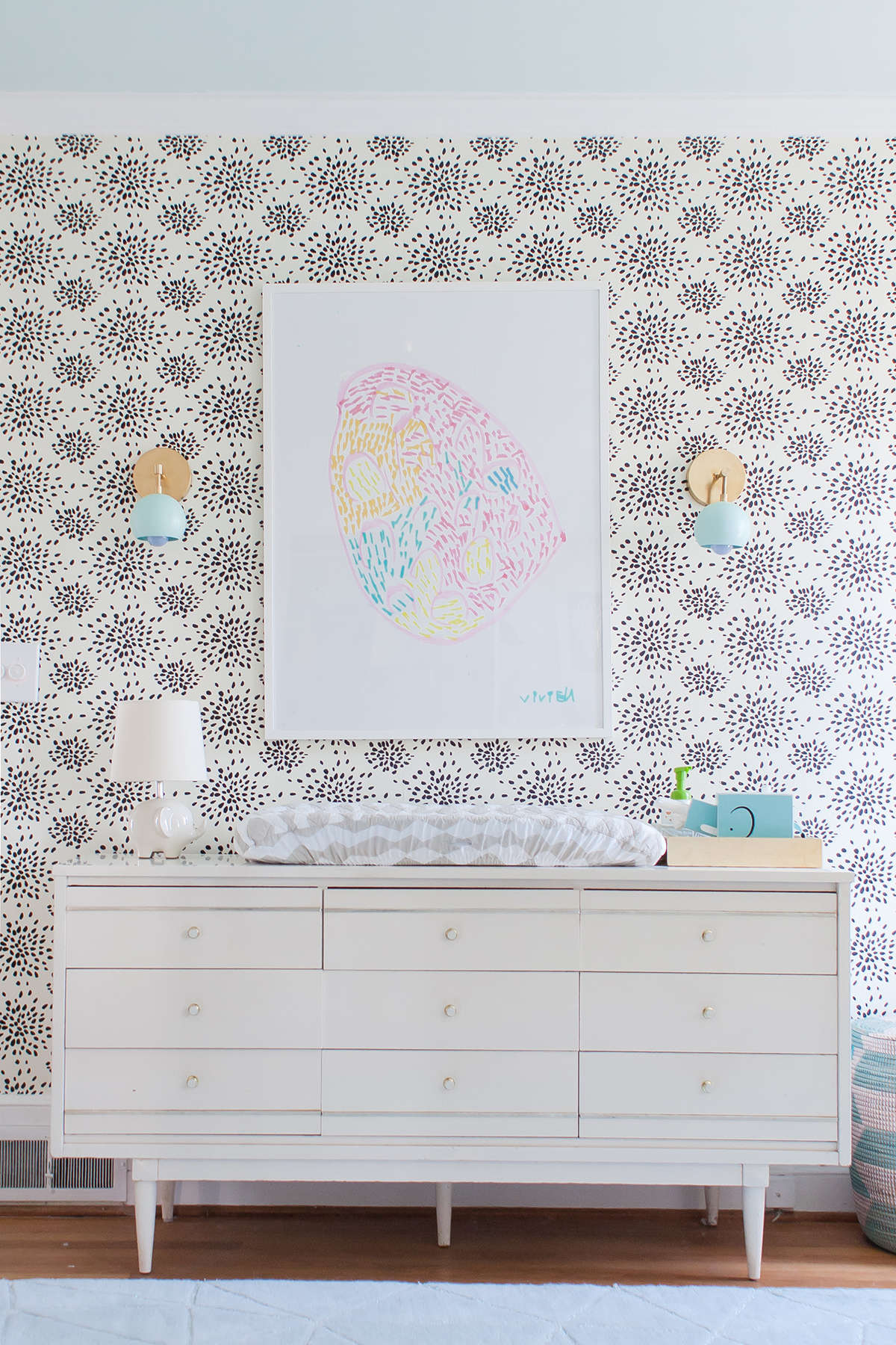 Firework Wallpaper with Vintage Dresser in Girl's Nursery