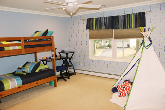 Tribal Arrows Stenciled Bedroom