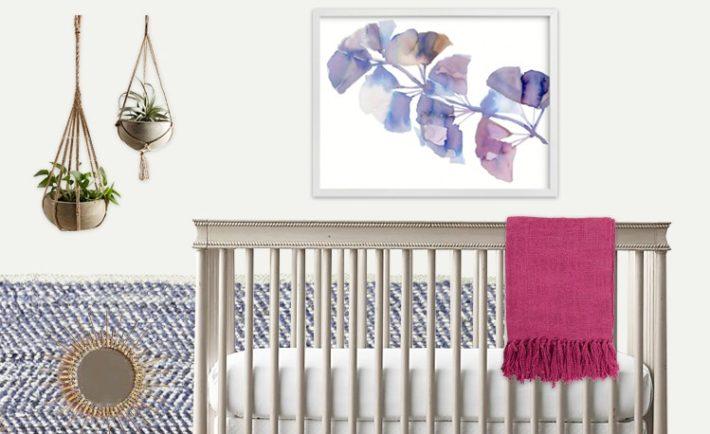 Blue and Pink Girls Nursery Design Board