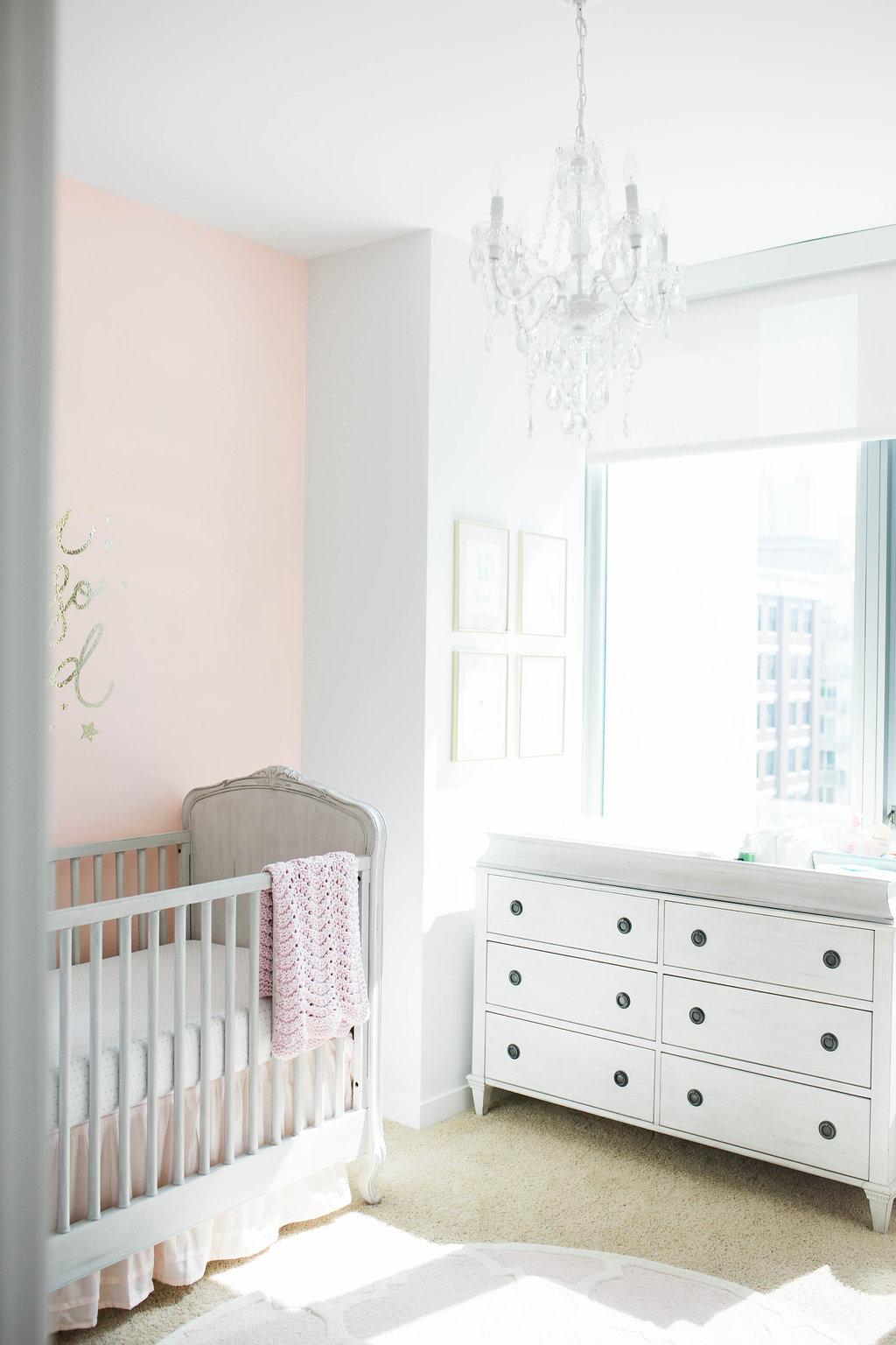 Feminine Pink and Gray Nursery