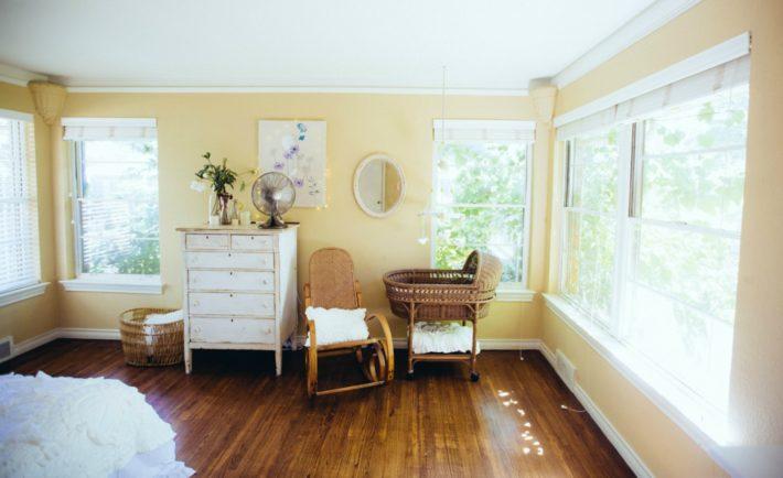 Vintage Master Bedroom with Nursery Nook