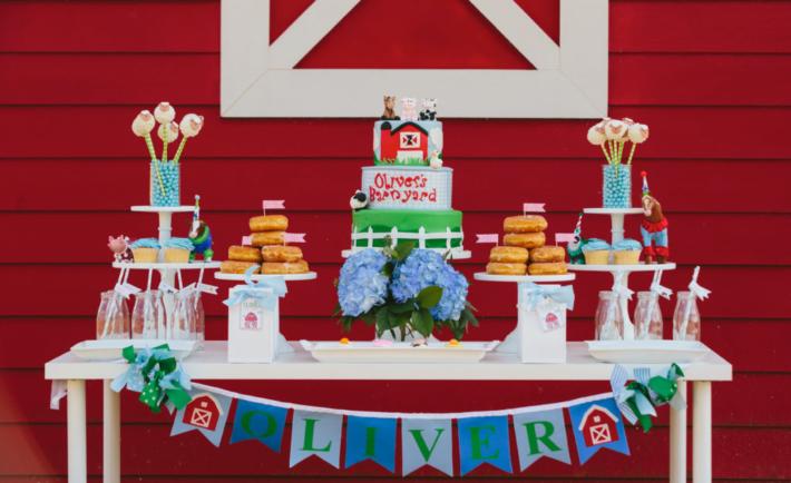 Barnyard Themed Birthday Party Dessert Table