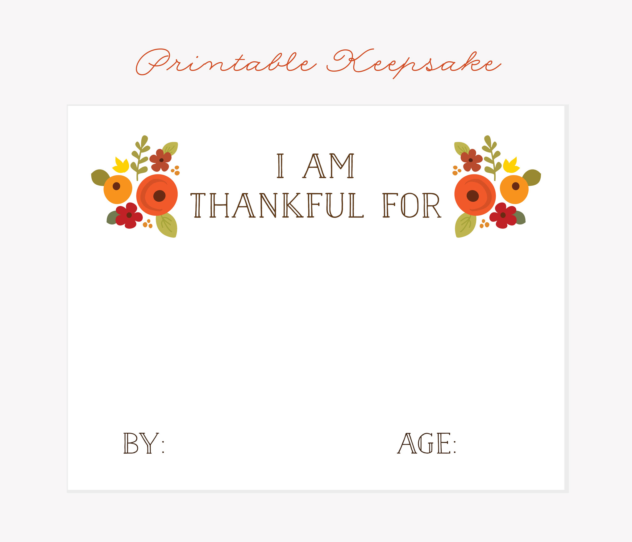 Free Printable Thanksgiving Keepsake