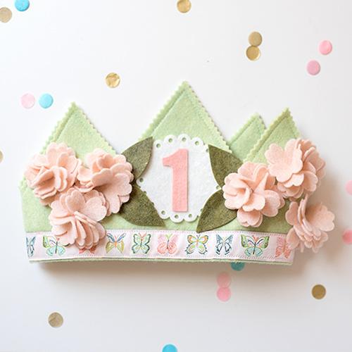 Shabby Cherry Blossom 1st Birthday Crown