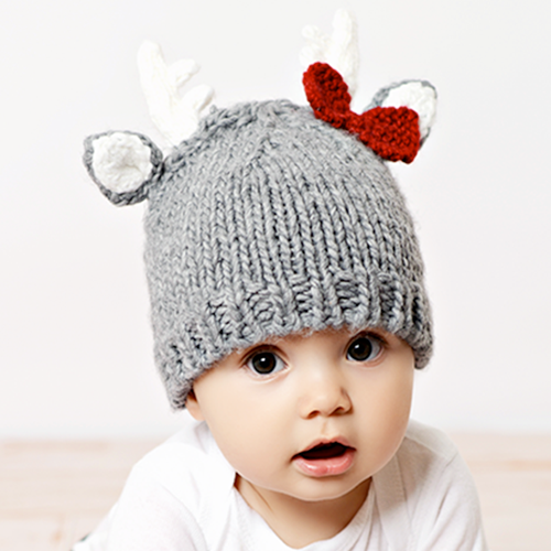 Knit Baby Deer Hat