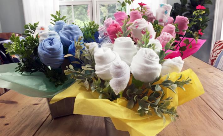 DIY Baby Shower Gift Washcloth and Onesie Bouquet