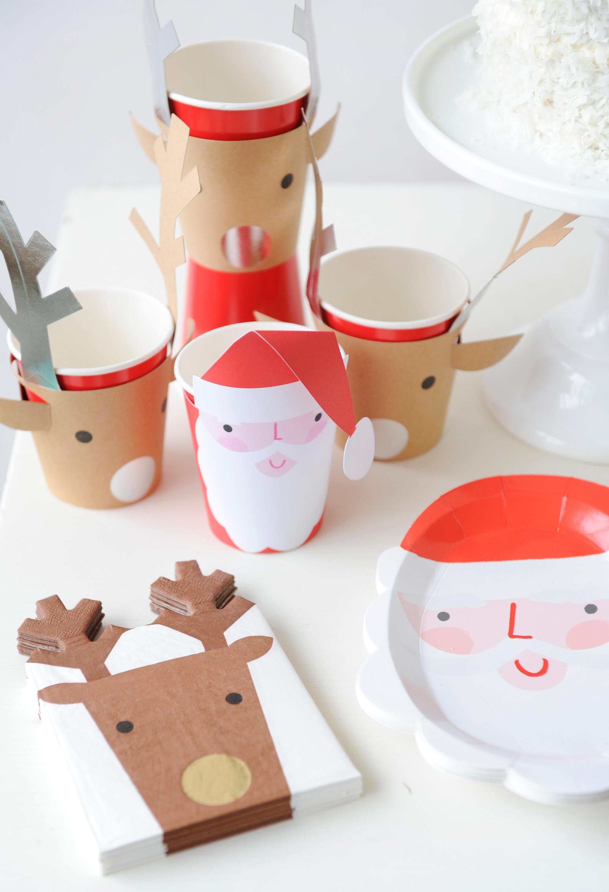 Santa and Reindeer Paper Plates, Cups and Napkins