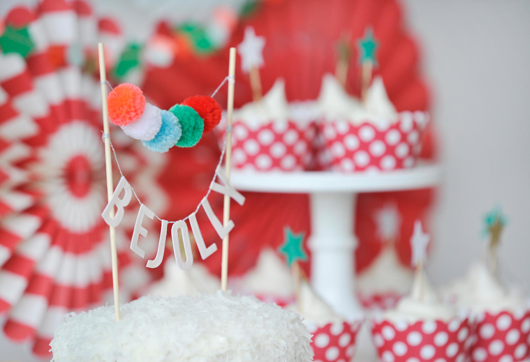 Pom Pom Garland Cake Topper