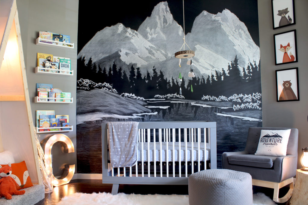 Mountain Mural in Outdoor Themed Adventure Boy's Nursery
