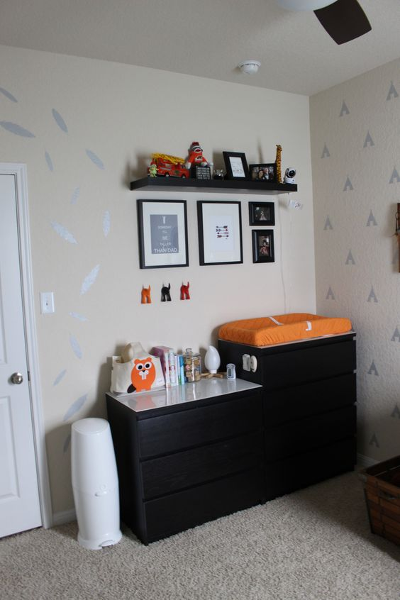 Little Man Cave Nursery - Navy and Orange