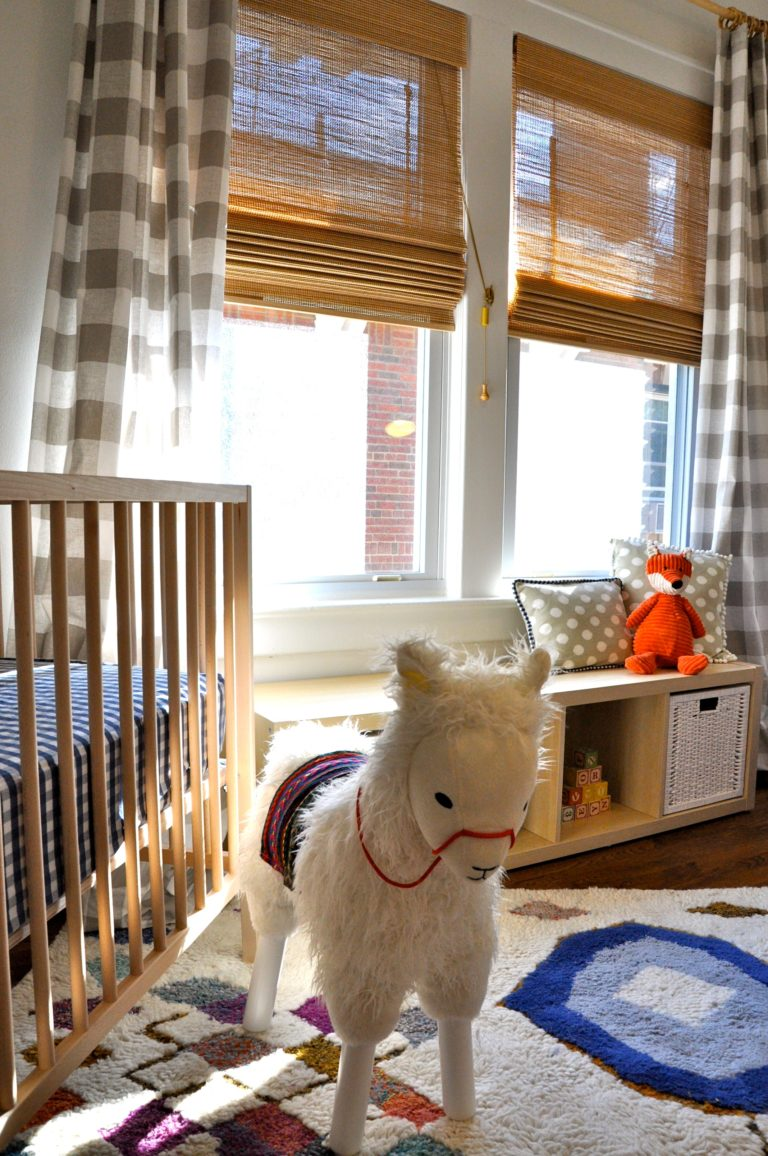 Gender Neutral Llama Nursery - eclectic nursery with otomi wallpaper, foxes and cactus