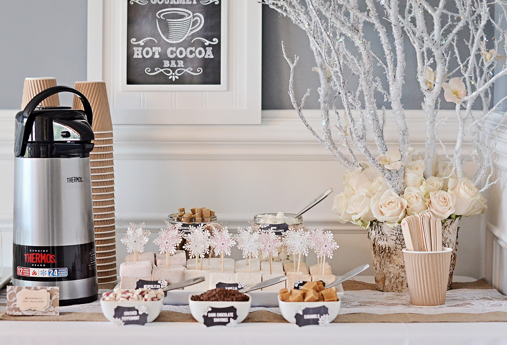 DIY Hot Cocoa Bar for Winter Wonderland Birthday Party