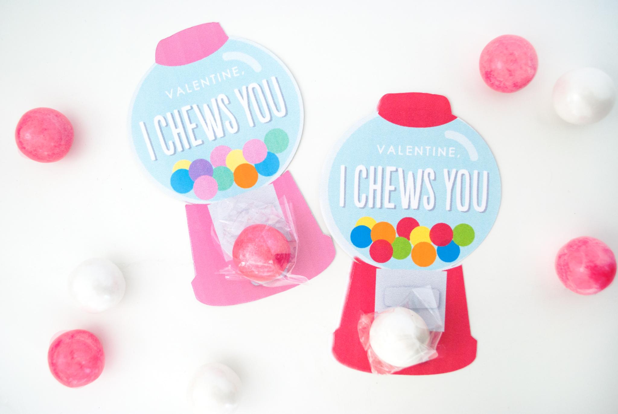 Free Printable Valentine's Day Cards Gumball Machine Valentines