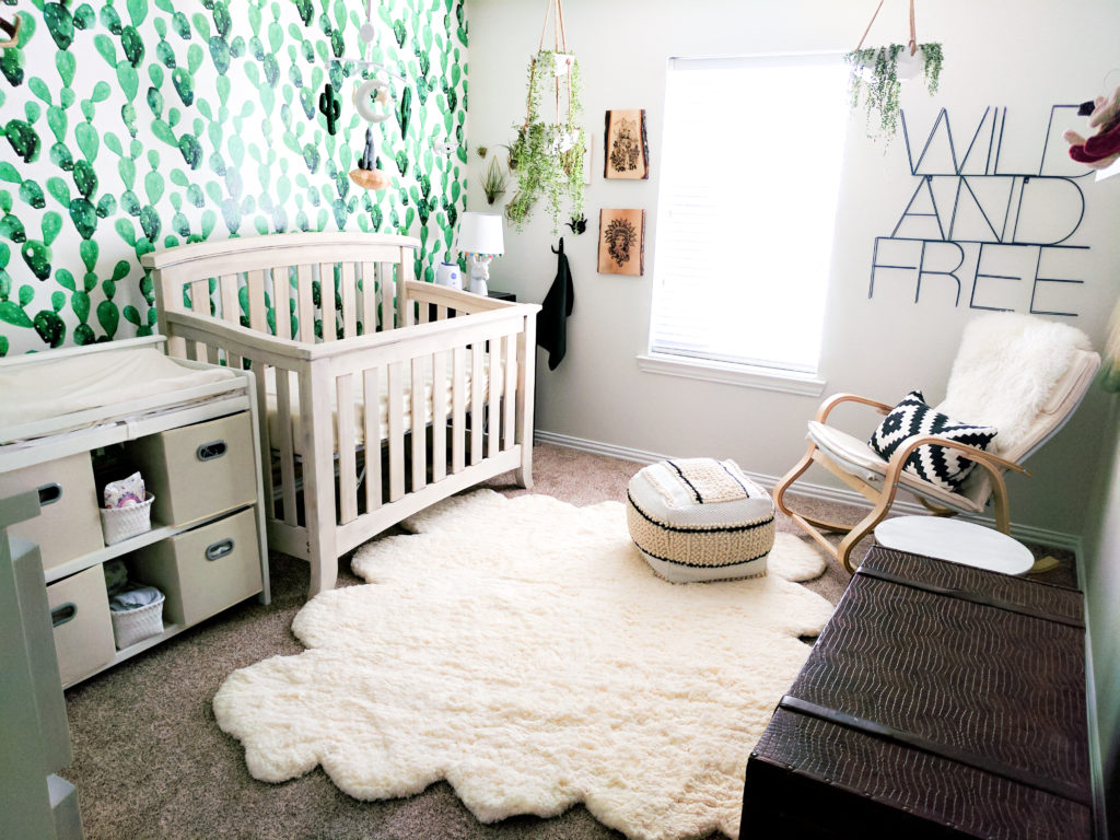 Modern Gender Neutral Nursery with Cactus Wallpaper - Project Nursery