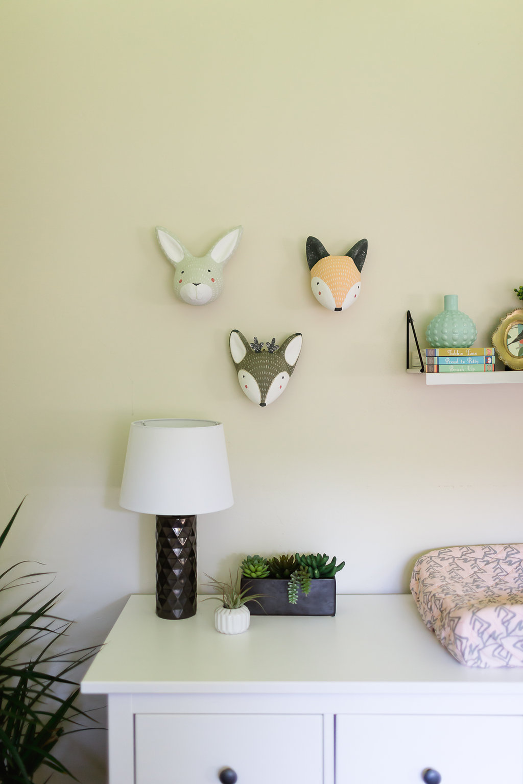 Whimsical Eclectic Nursery Dresser Vignette with Whimsical Animal Heads