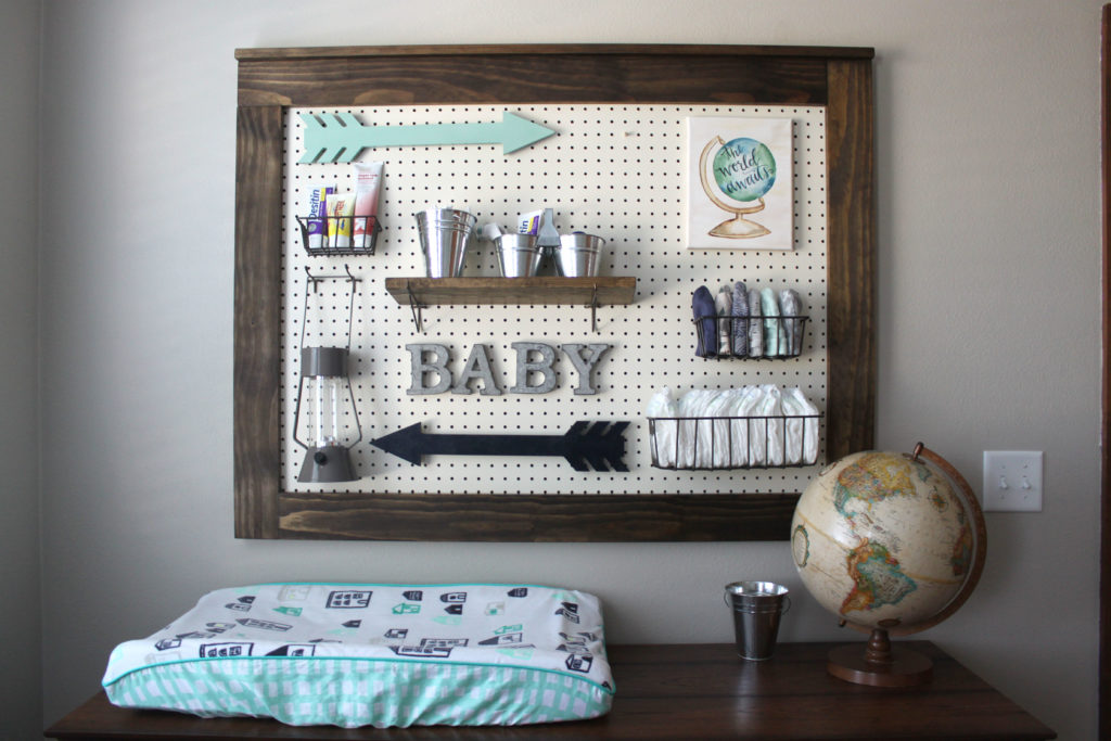 Pegboard Nursery Organization, Changing Table Organization, Boy's Baby Room