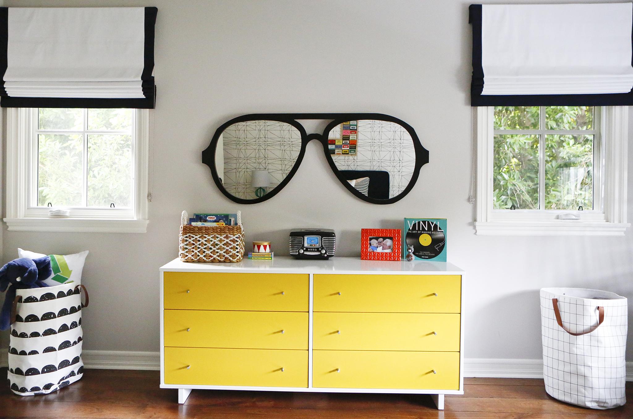 Custom Aviators Mirror and Modern Yellow Dresser Big Kids Room Decor