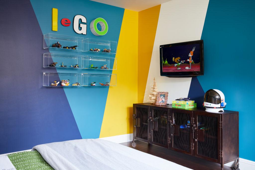 Colorful Big Kid Room with Acrylic Lego Display Shelves