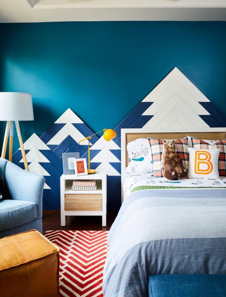 Outdoors-Inspired Big Kid Room with Custom Mountain Wall Art