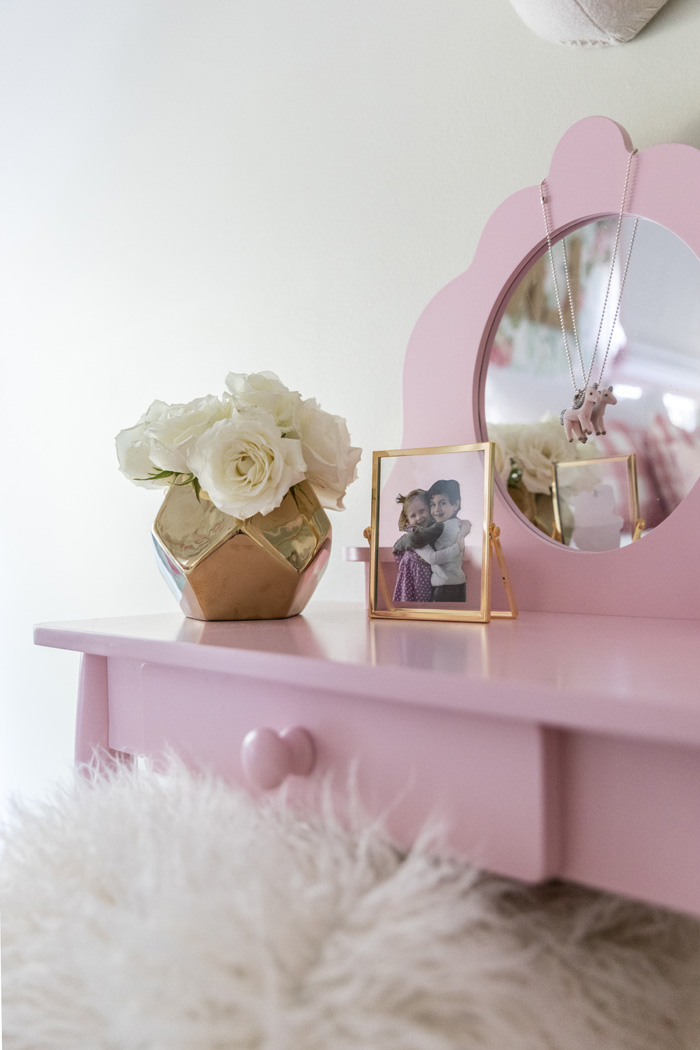 Little Girl's Pink Vanity in Vintage Big Girl's Room