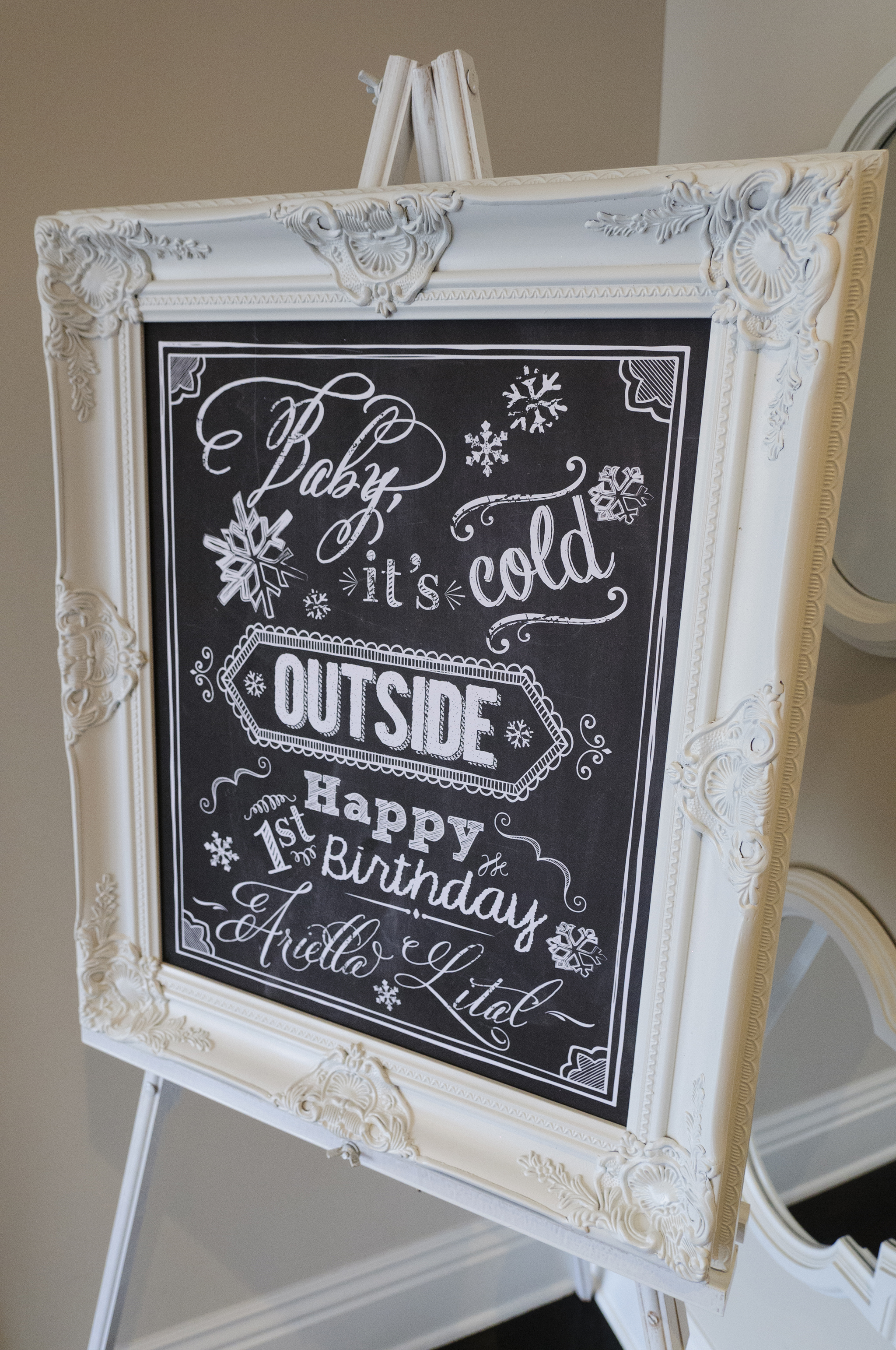 Customizable Winter Wonderland Themed Birthday Party Printable Sign