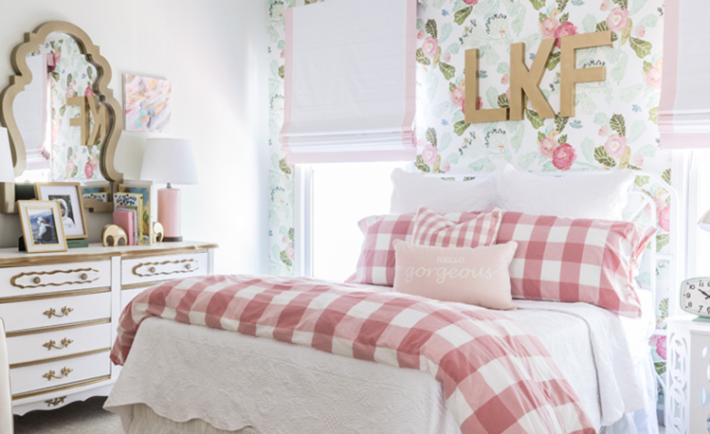 Floral Big Girl Room with Vintage Flair