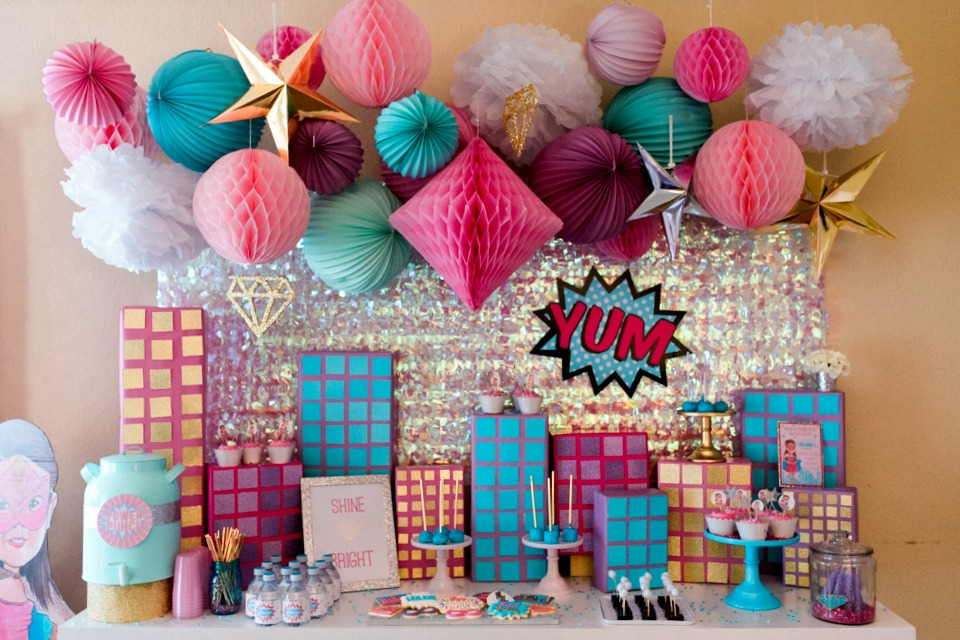 Girls Super Hero Birthday Party with Pink, Purple and Aqua Decor - Project Nursery
