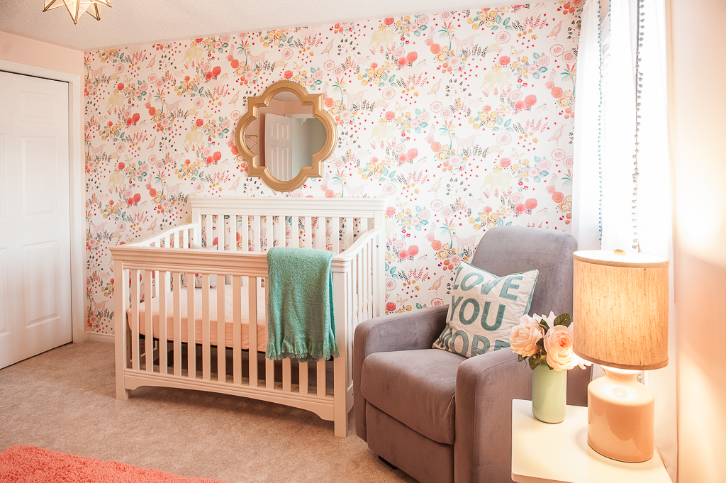 Feminine Girls Nursery with Floral Accent Wallpaper - Project Nursery