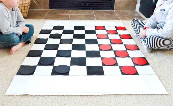 Oversized DIY Checkers Set for Kids How to Make Jumbo Checkers