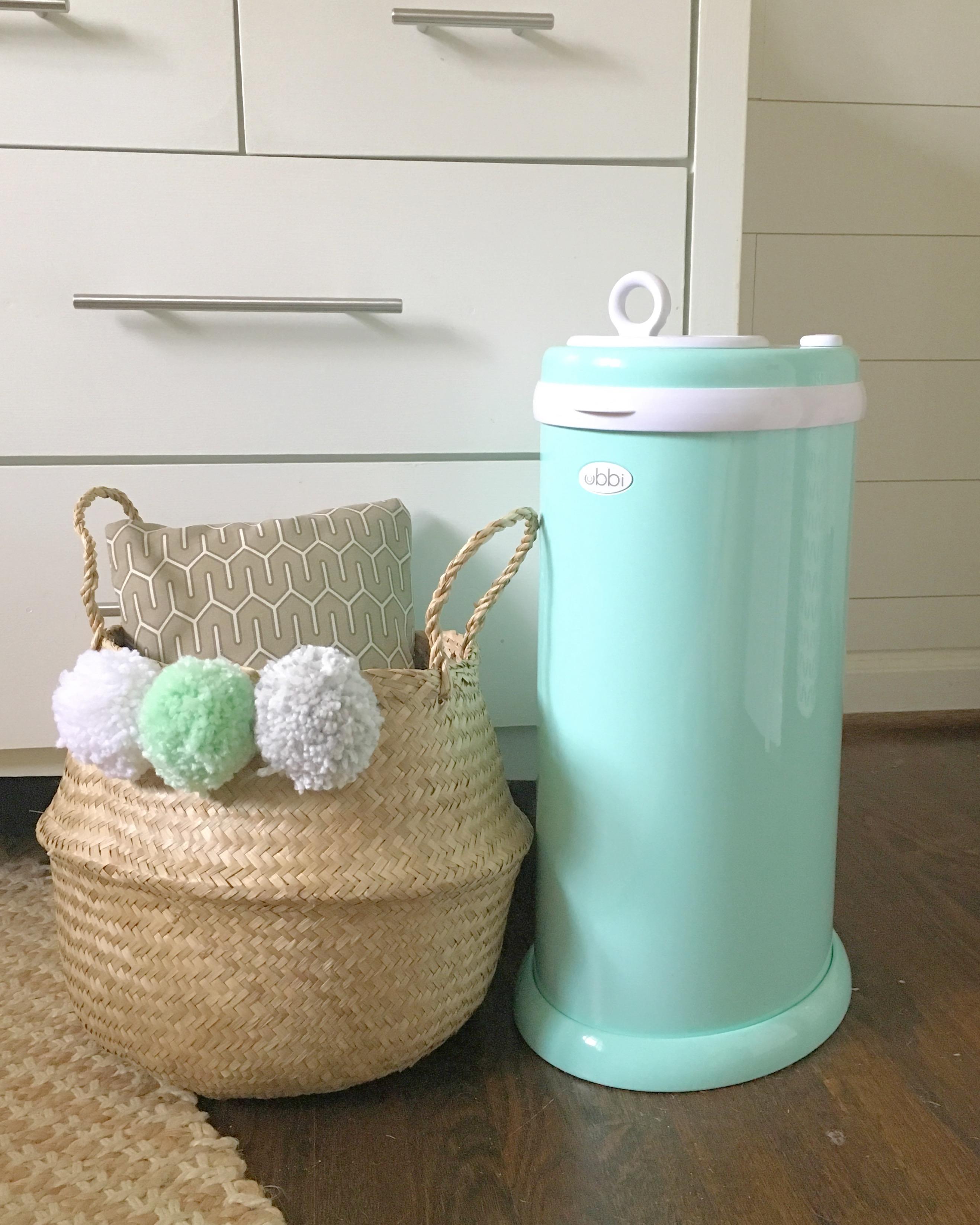 Whimsical Nursery Mint and White Nursery Ubbi Mint Diaper Pail - Project Nursery
