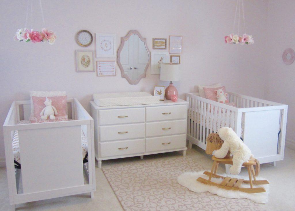 Pink, White and Gold Twin Nursery Feminine Nursery for Twin Girls - Project Nursery