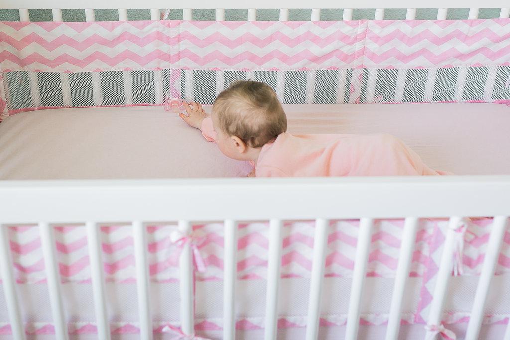Pink Chevron Mesh Crib Liner by Nojo