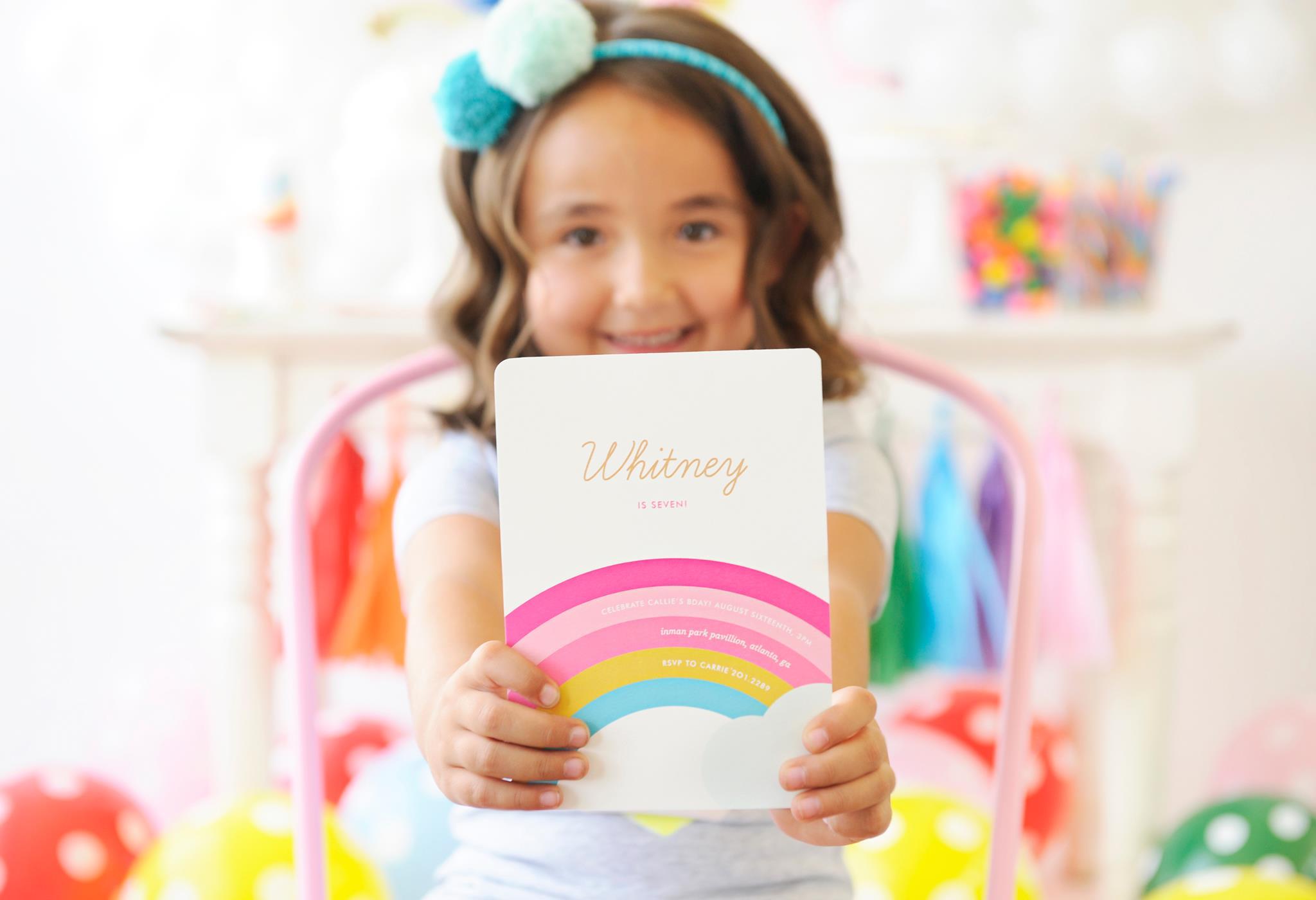 Rainbow Birthday Party Invitation for Kids Rainbow Party