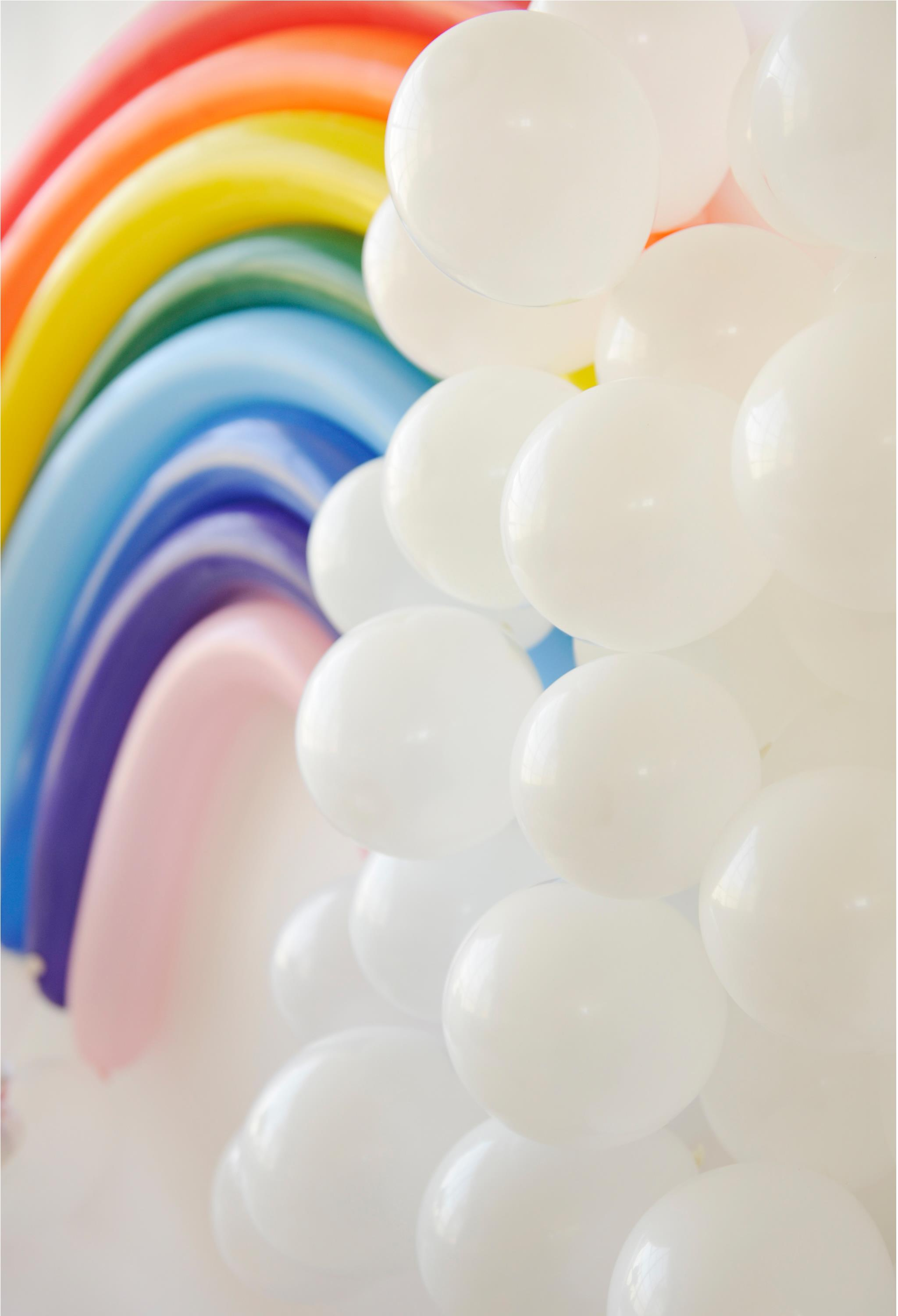 Rainbow Balloon Backdrop DIY Rainbow Kids Party Decor