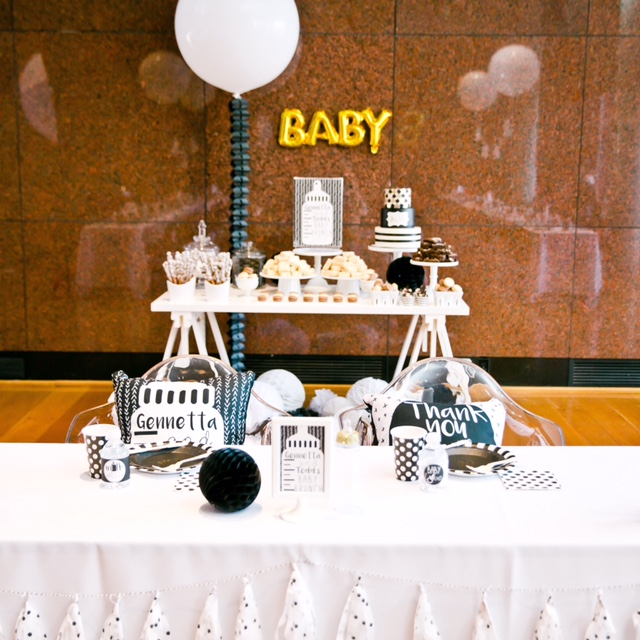 Glamorous Black and White Baby Shower Brunch with Gold Accents - Project Nursery
