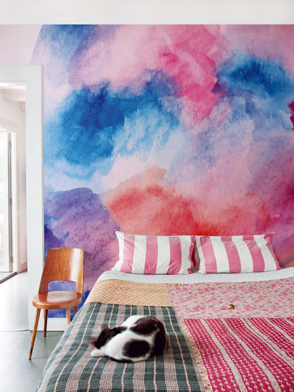 Spectacular Pink and Blue Watercolor Mural Oversized Watercolor Wall Decals