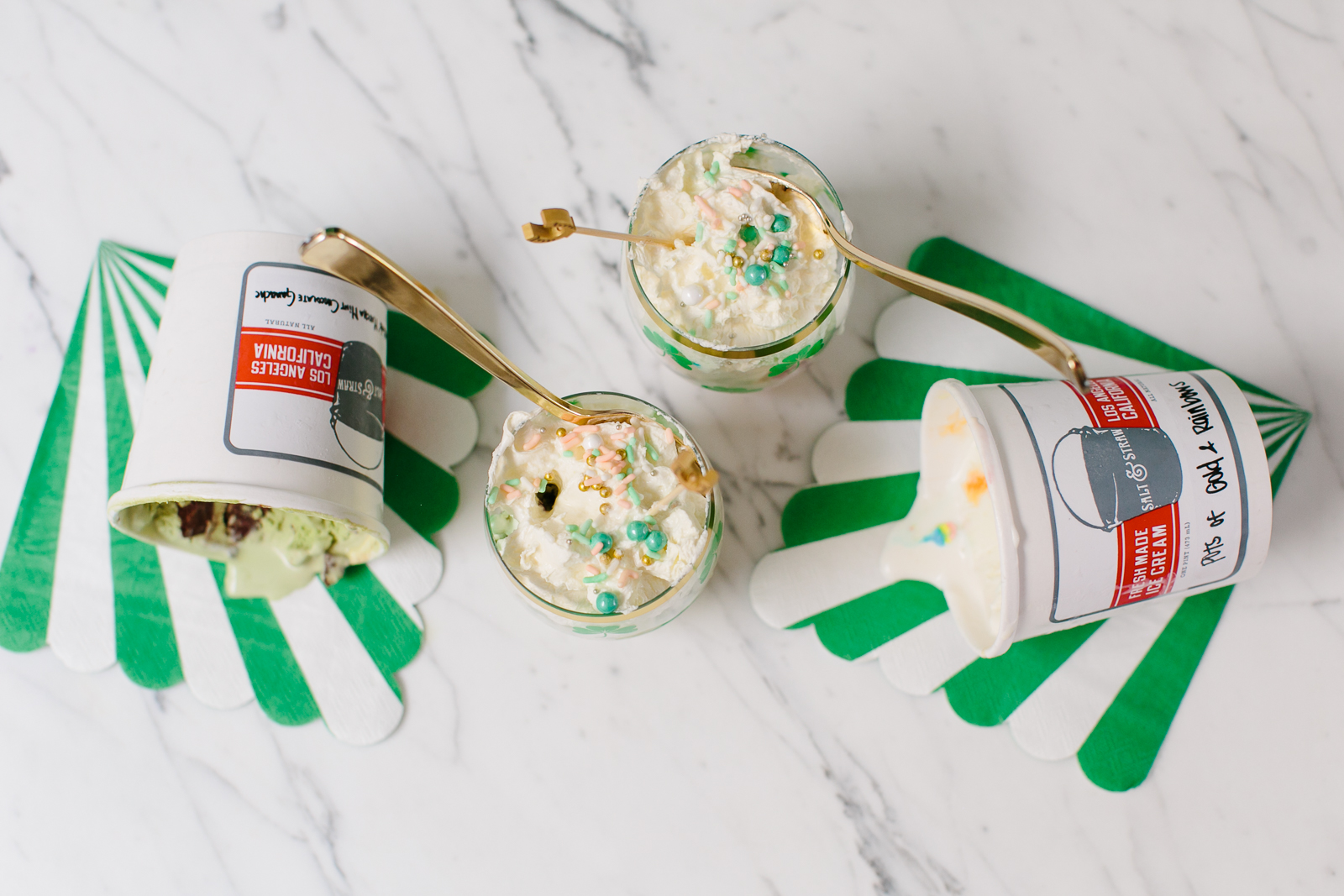 St. Patrick's Day Ice Cream Sundaes