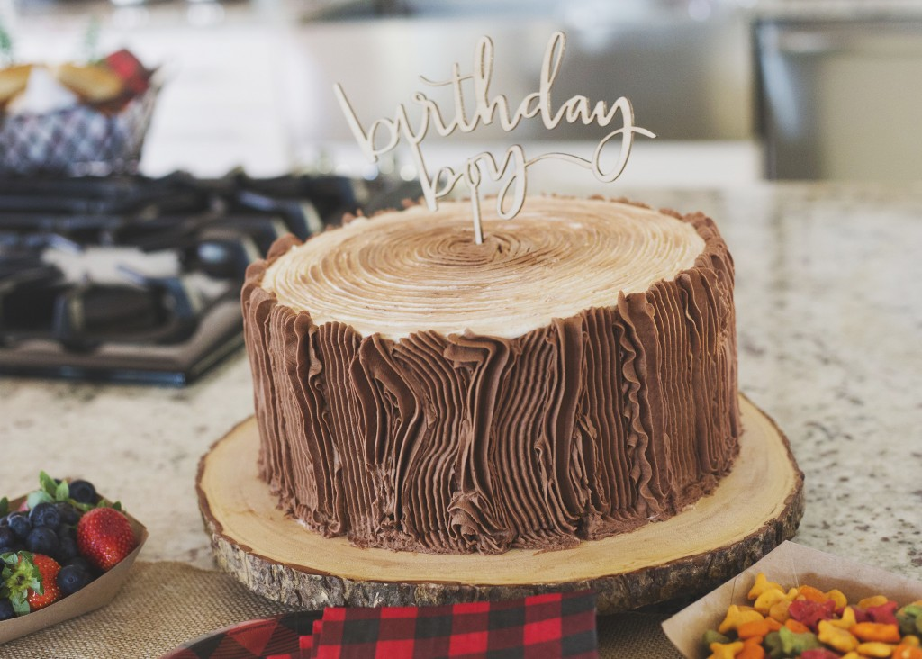 Camp Themed Birthday Party with Wood Textured Cake - Project Nursery