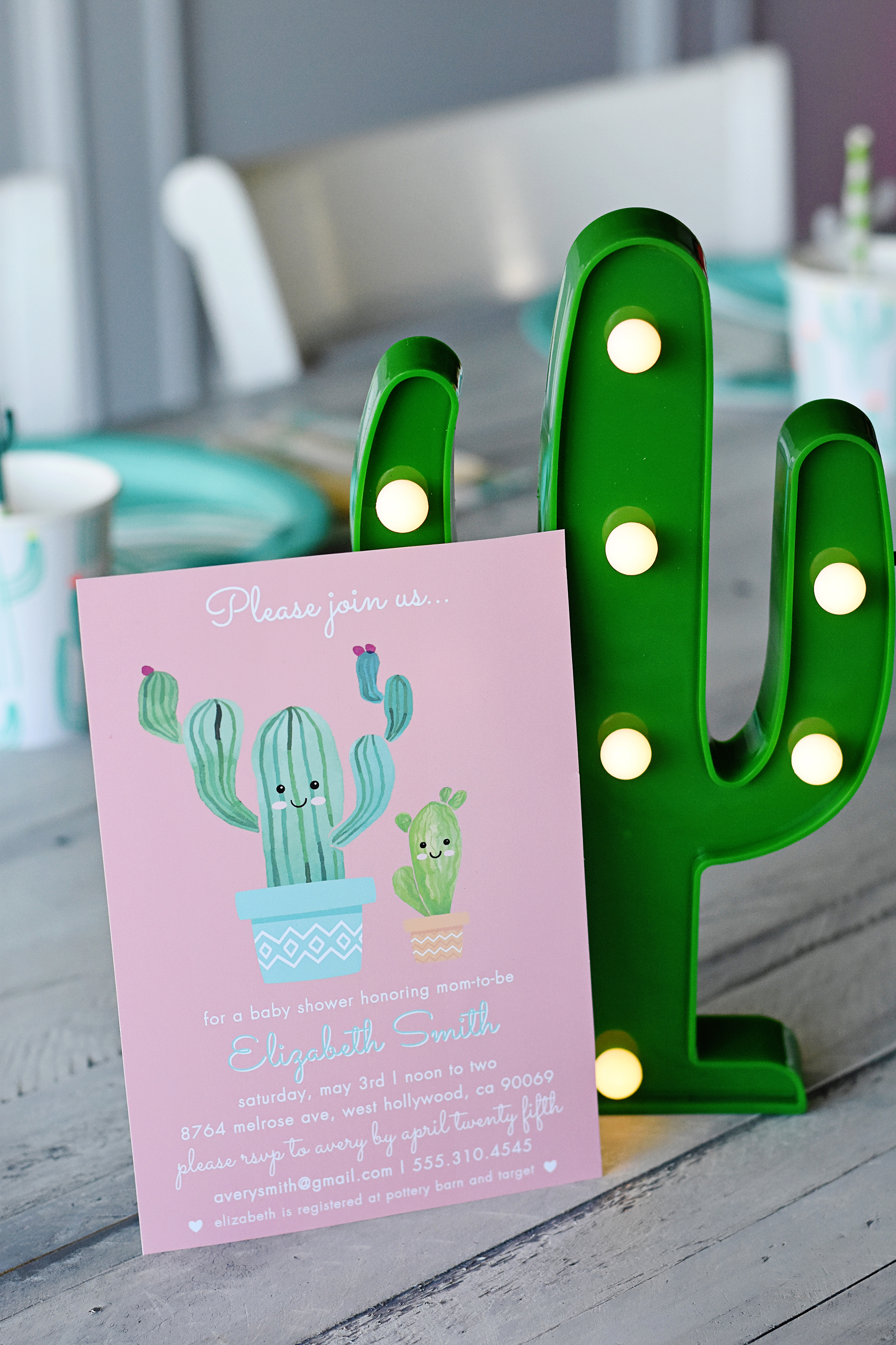 Cactus Cutie Printable Baby Shower Invitation and Cactus Marquee Light - Project Nursery