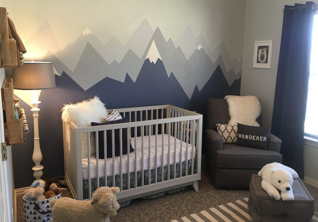 Best Gray and White Nursery with Mountain Range Mural Project Nursery