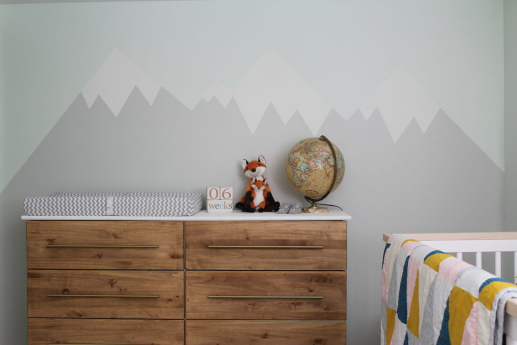 Trend Woodland Nursery Hand painted Mountain Range Feature Wall Project Nursery