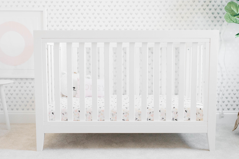 Tatum White Crib in Pink, White and Gray Girl's Nursery