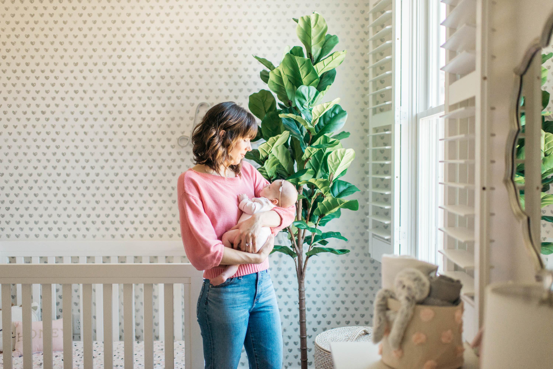 Silver Heart Wallpaper in Girl's Nursery