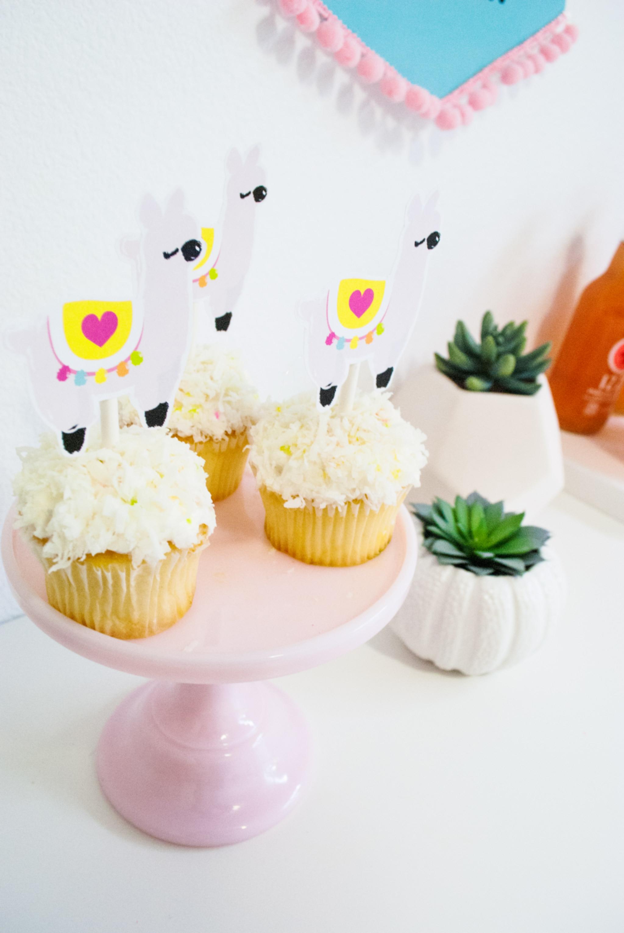 Llama Printable Cupcake Toppers