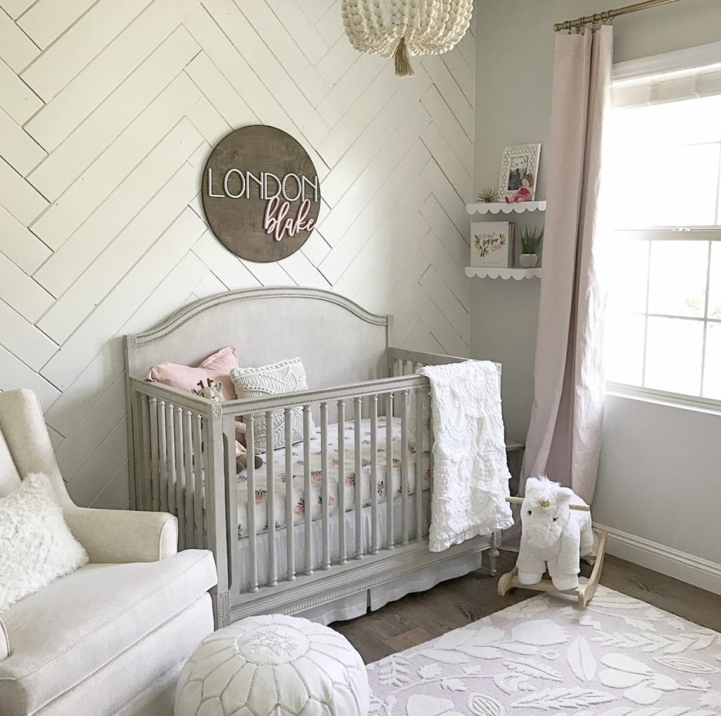 Herringbone Shiplap Accent Wall in Girl's Nursery - Project Nursery