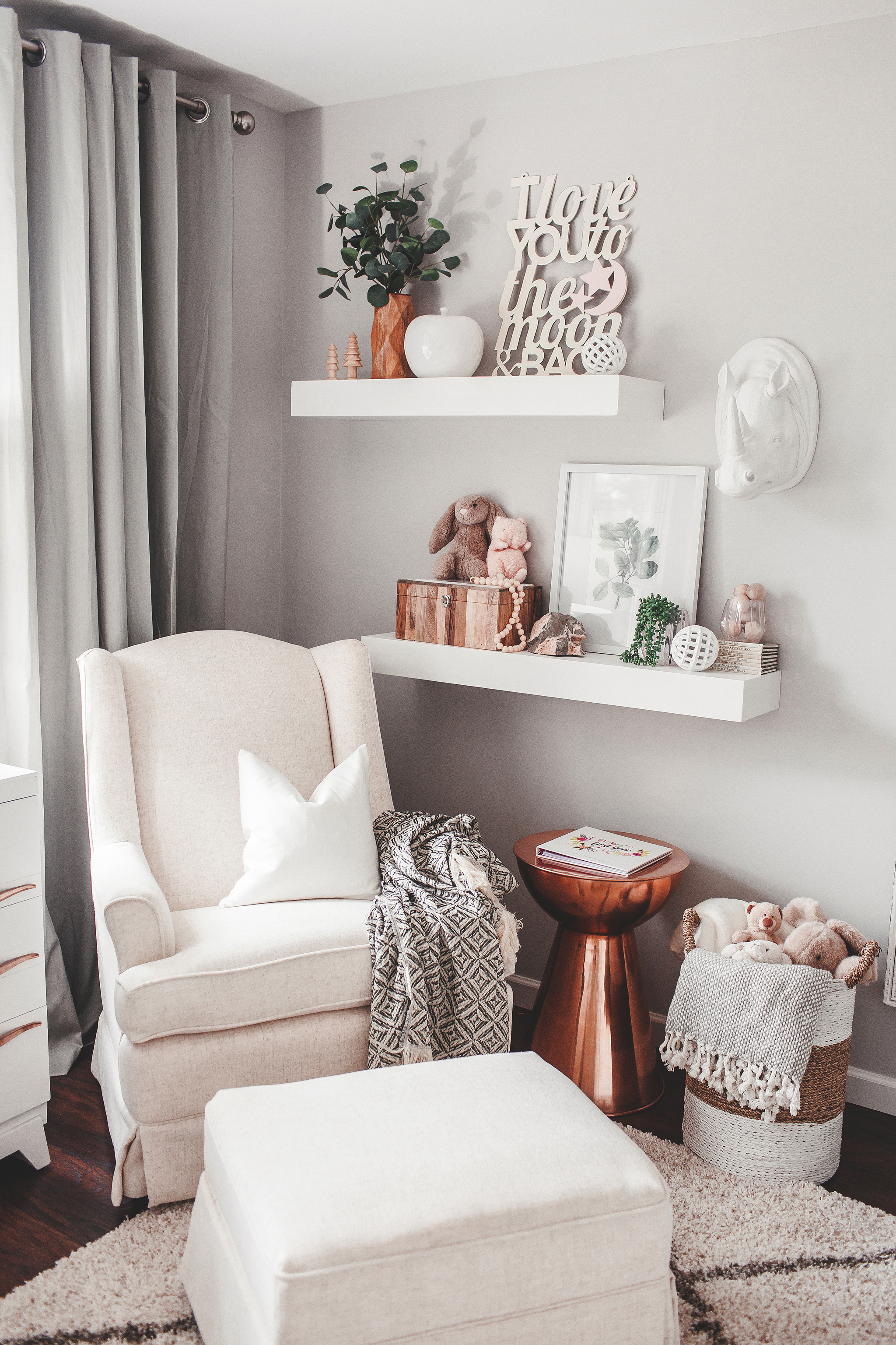 Nursing Nook in Neutral Girl's Nursery with Copper Accents - Project Nursery