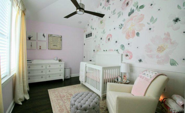 Feminine Girls Nursery with Floral Wallpaper - Project Nursery