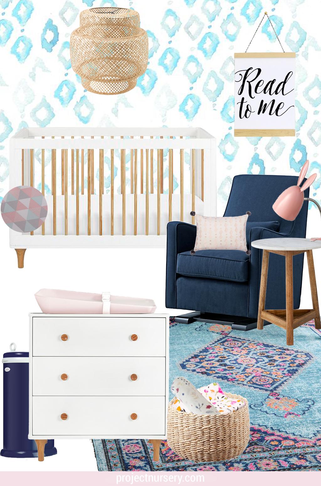 Aqua, Pink and Navy Baby Girl Nursery Design Board - Project Nursery