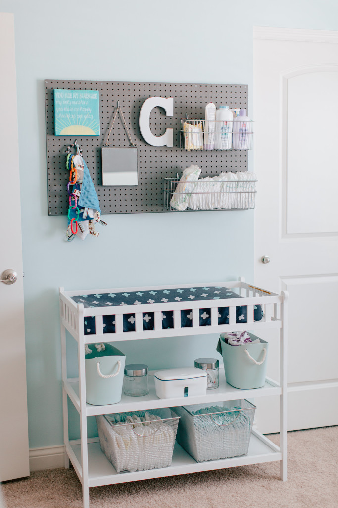 Pegboard Changing Table Organization in Boy Nursery - Project Nursery